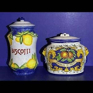 Artistica Rustica Italian Hand Painted Canisters